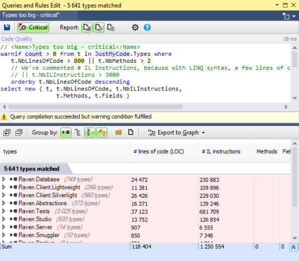NDepend Query Editor